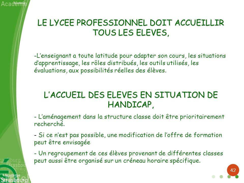 LE LYCEE PROFESSIONNEL DOIT ACCUEILLIR TOUS LES ELEVES, -Lenseignant a toute latitude pour adapter son cours, les situations dapprentissage, les rôles