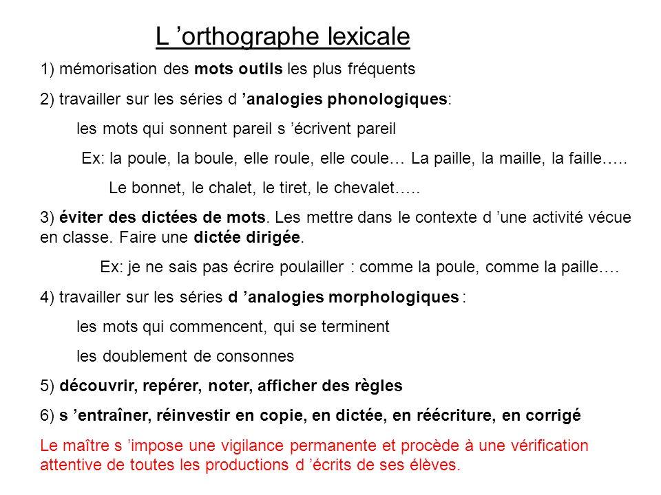 L orthographe lexicale 1) mémorisation des mots outils les plus fréquents 2) travailler sur les séries d analogies phonologiques: les mots qui sonnent