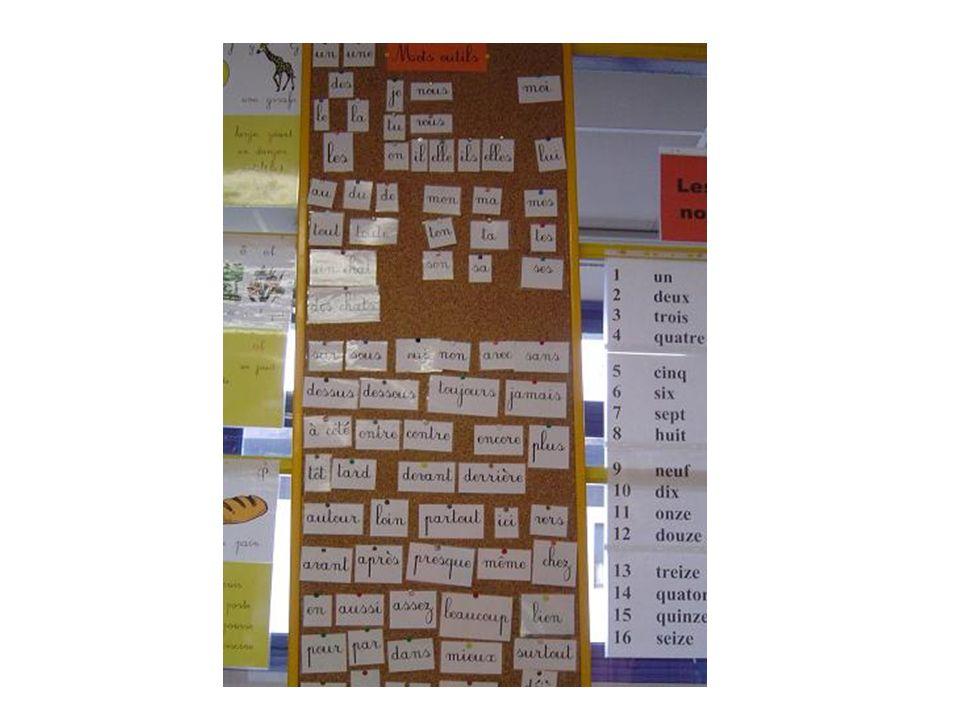 Abécédaire mural complété par les prénoms des élèves et les mots-vedettes glanés au cours des lectures ou des projets MichelRachidLoupPorteSamuel Soupe Sorcière