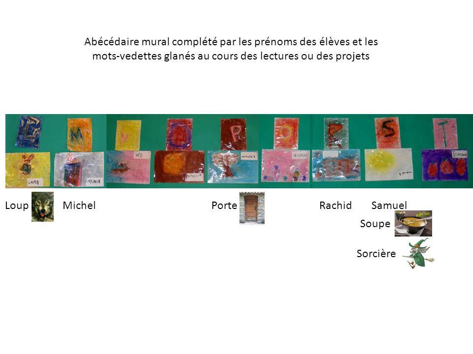 Abécédaire mural complété par les prénoms des élèves et les mots-vedettes glanés au cours des lectures ou des projets MichelRachidLoupPorteSamuel Soup