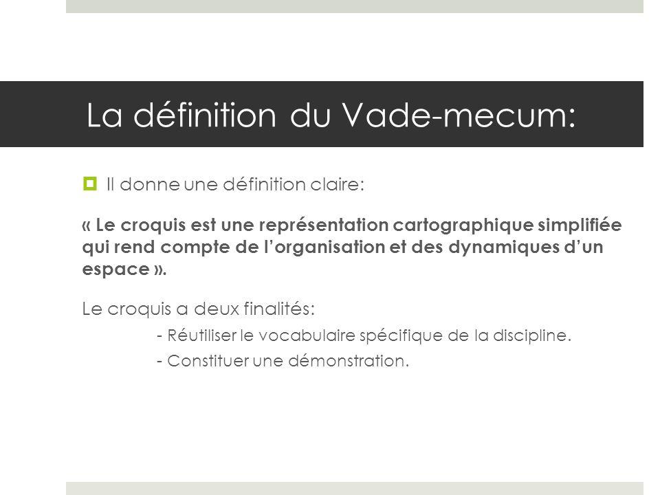 La définition du Vade-mecum: Pour le réaliser, lélève doit mobiliser un langage spécifique et faire une démonstration.
