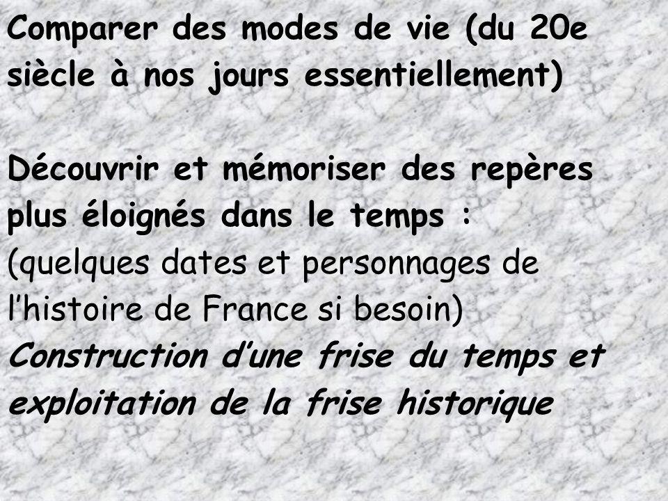 Comparer des modes de vie (du 20e siècle à nos jours essentiellement) Découvrir et mémoriser des repères plus éloignés dans le temps : (quelques dates