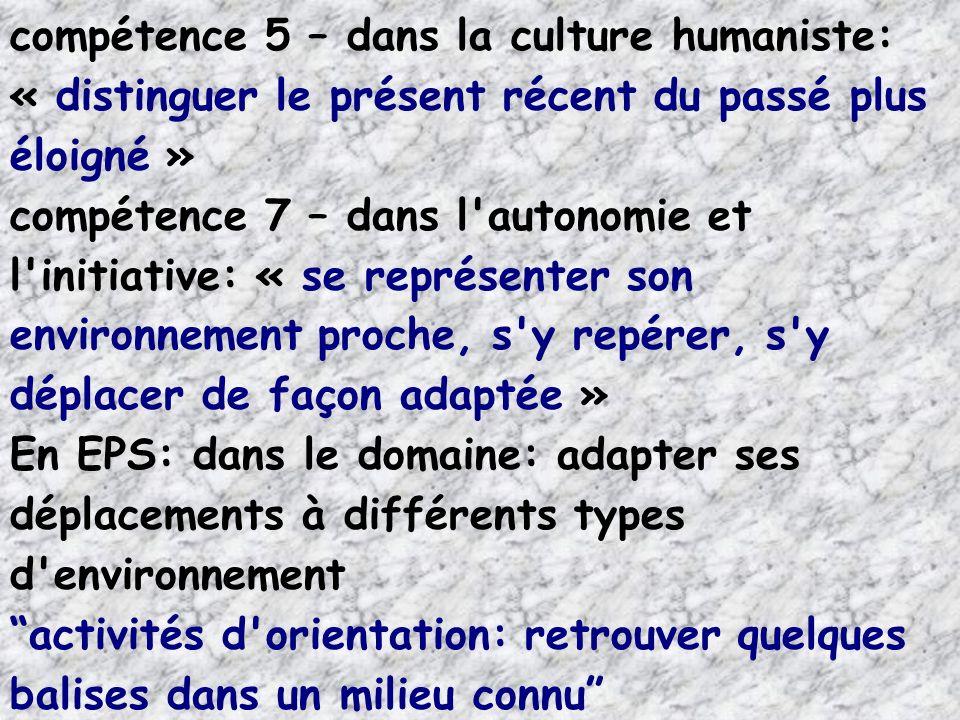 compétence 5 – dans la culture humaniste: « distinguer le présent récent du passé plus éloigné » compétence 7 – dans l'autonomie et l'initiative: « se