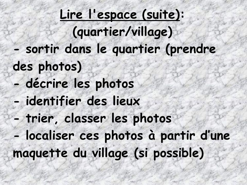 Lire l'espace (suite): (quartier/village) - sortir dans le quartier (prendre des photos) - décrire les photos - identifier des lieux - trier, classer