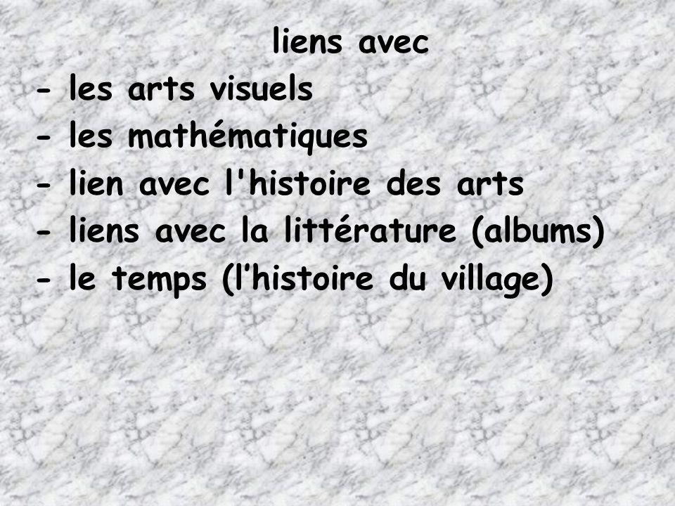 liens avec - les arts visuels - les mathématiques - lien avec l'histoire des arts - liens avec la littérature (albums) - le temps (lhistoire du villag
