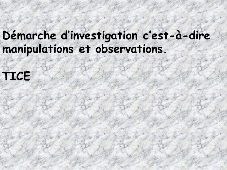 Démarche dinvestigation cest-à-dire manipulations et observations. TICE