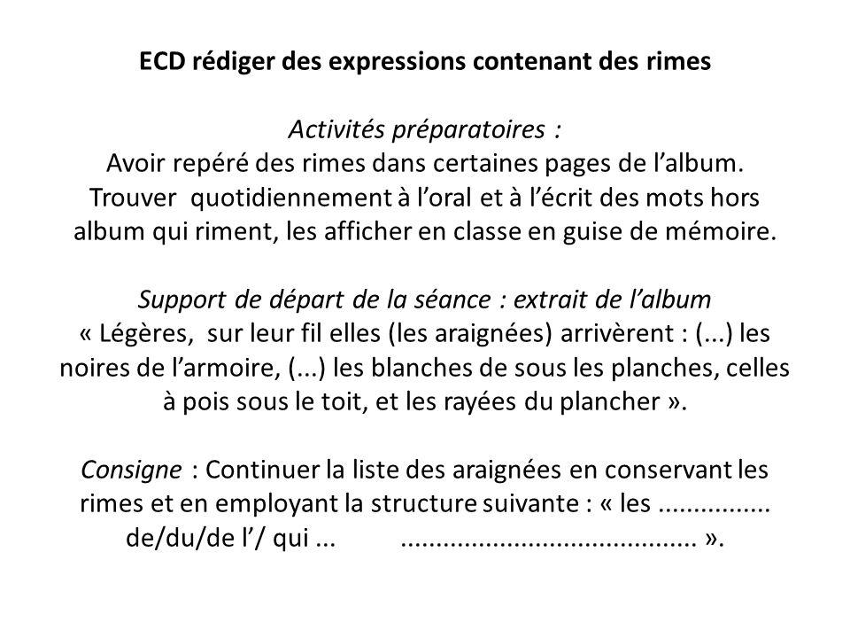 ECD rédiger des expressions contenant des rimes Activités préparatoires : Avoir repéré des rimes dans certaines pages de lalbum. Trouver quotidienneme