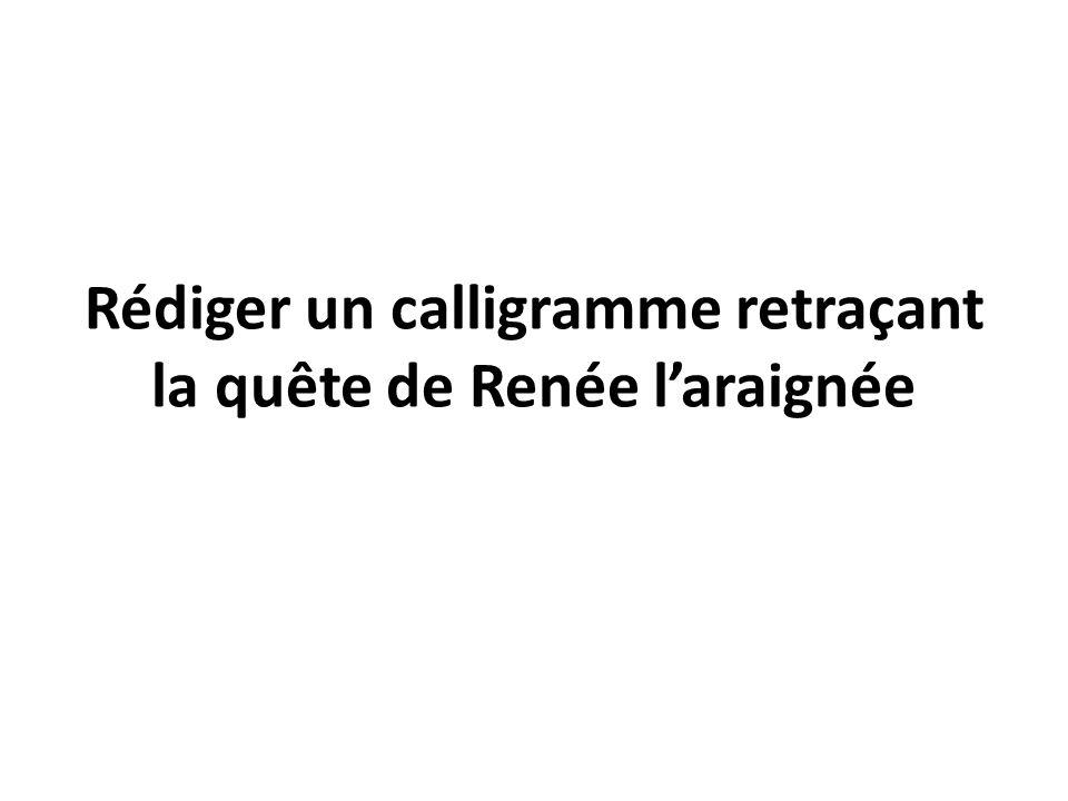 Rédiger un calligramme retraçant la quête de Renée laraignée