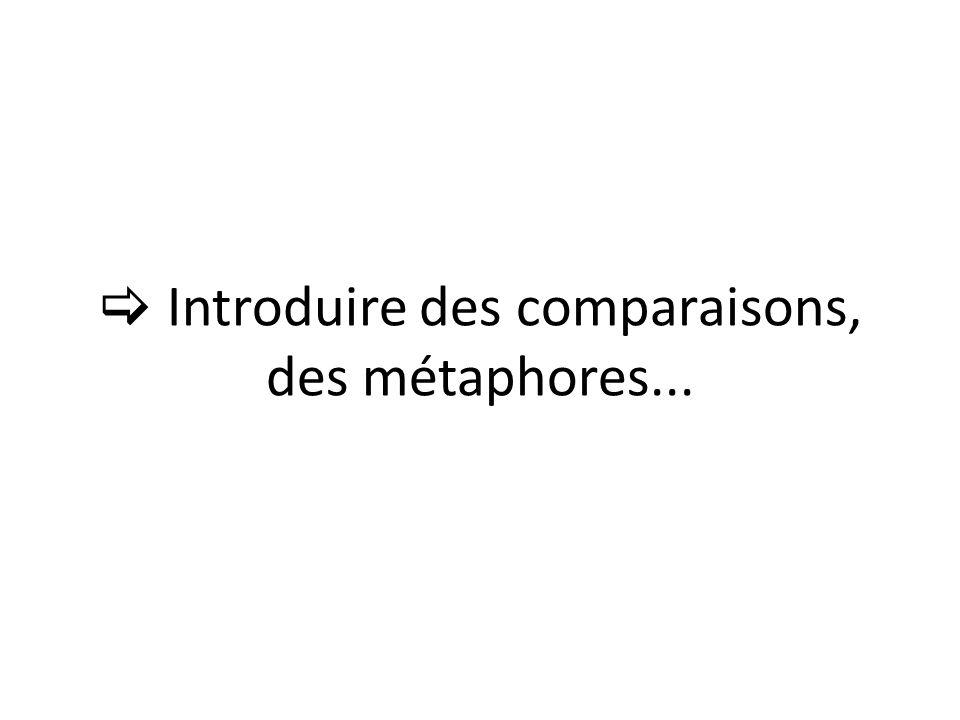Introduire des comparaisons, des métaphores...