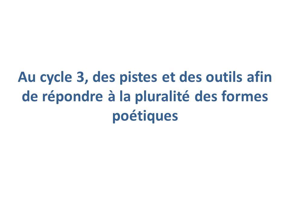 Au cycle 3, des pistes et des outils afin de répondre à la pluralité des formes poétiques