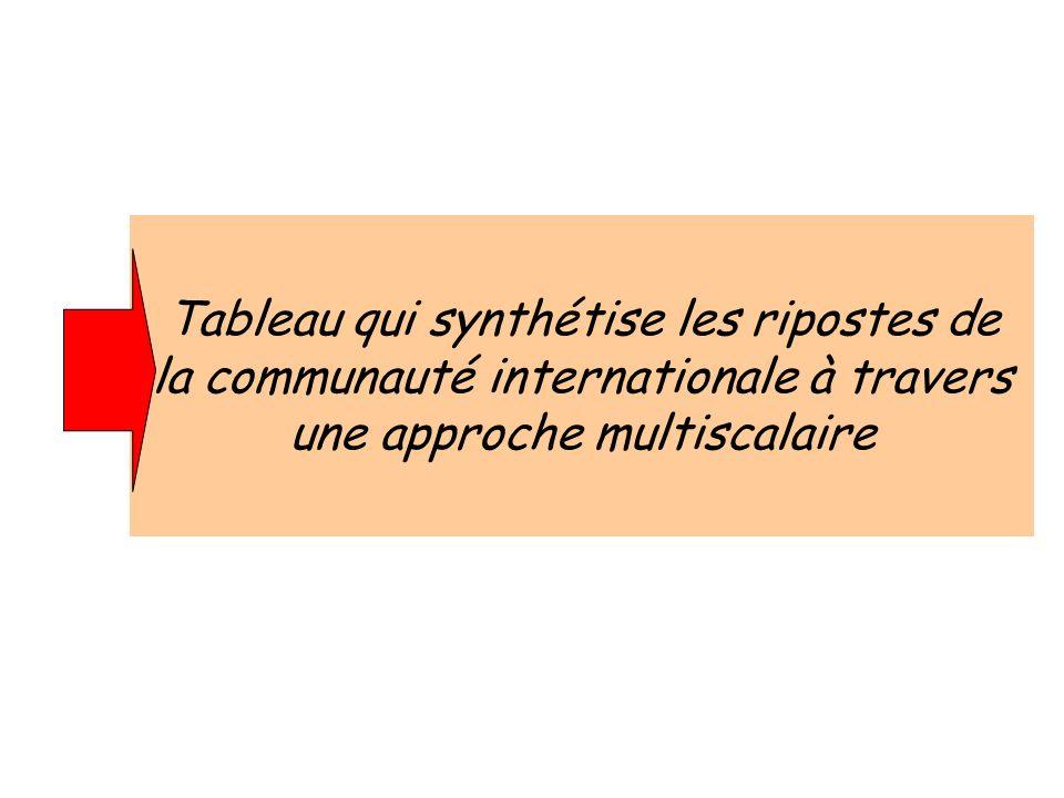 Tableau qui synthétise les ripostes de la communauté internationale à travers une approche multiscalaire