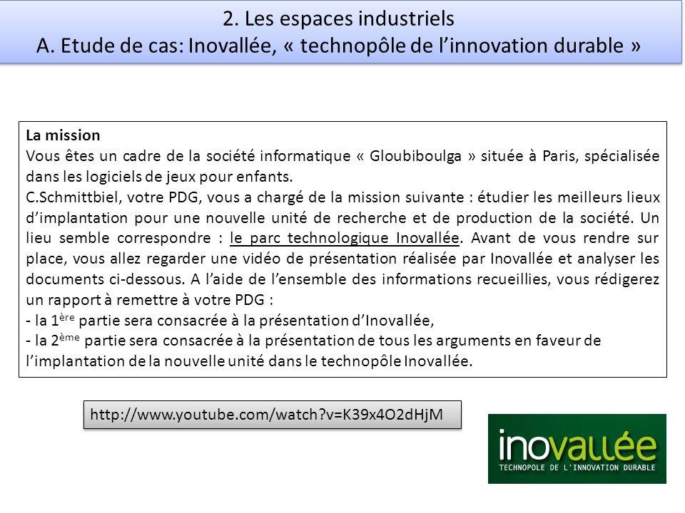 2. Les espaces industriels A. Etude de cas: Inovallée, « technopôle de linnovation durable » La mission Vous êtes un cadre de la société informatique