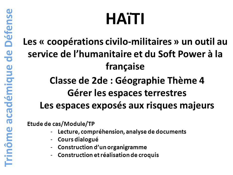 Trinôme académique de Défense Etude de cas partielle Module/TP ETUDE DE CAS PARTIELLE Port au Prince, une ville littorale du Sud Haïti, un pays pauvre Le tremblement de terre des dégâts accentués par la pauvreté Bilan du tremblement de terre Pour conclure un module Laction humanitaire, outil politique et de soft power : lArabie Saoudite Les coopérations civilo-militaires élément du Soft power Les coopérations civilo-militaires françaises à Haïti Quest ce quune coopération civilo-militaire .