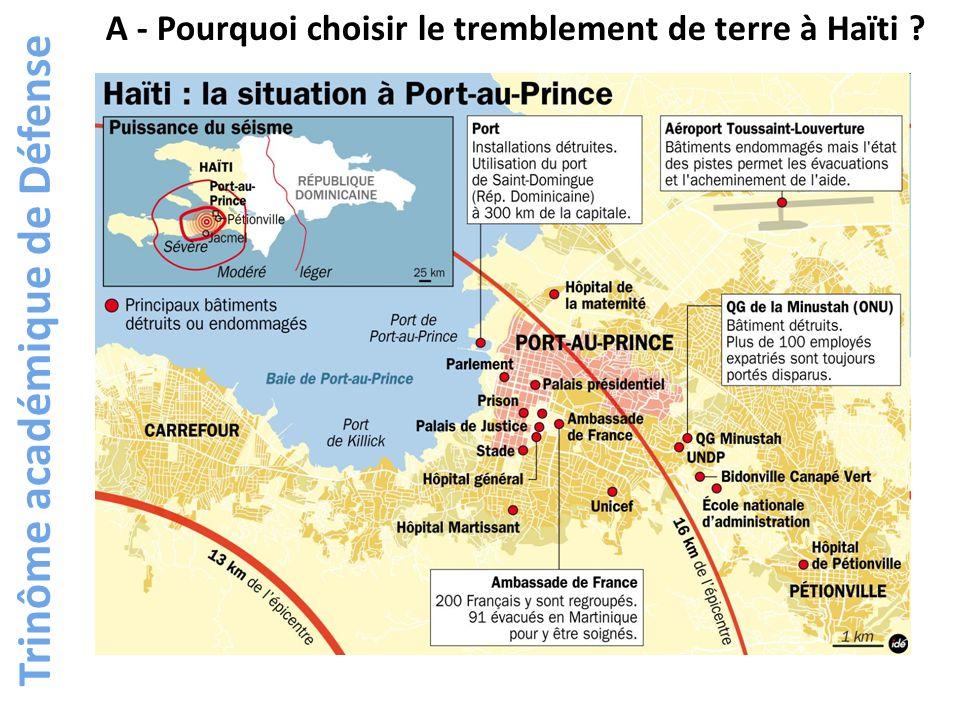 Trinôme académique de Défense A - Pourquoi choisir le tremblement de terre à Haïti ?