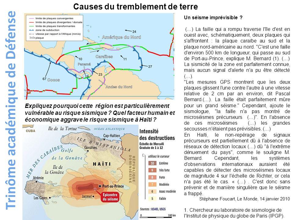 Trinôme académique de Défense Un séisme imprévisible ? (…) La faille qui a rompu traverse l'île d'est en ouest avec, schématiquement, deux plaques qui
