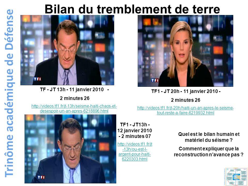 Trinôme académique de Défense TF1 - JT 20h - 11 janvier 2010 - 2 minutes 26 http://videos.tf1.fr/jt-20h/haiti-un-an-apres-le-seisme- tout-reste-a-fair