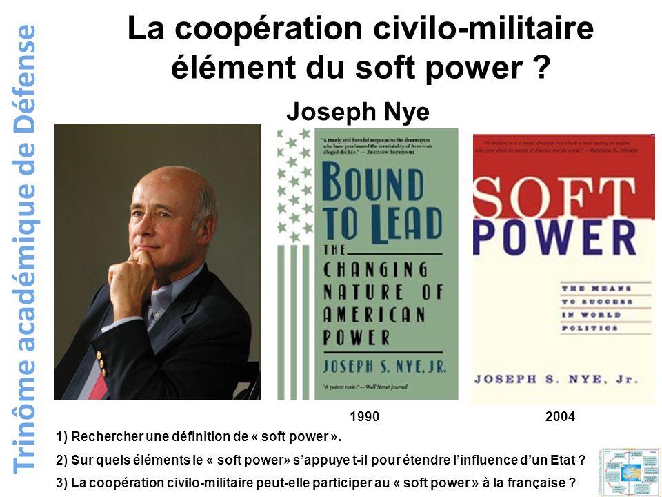 La coopération civilo-militaire élément du soft power ? 1) Rechercher une définition de « soft power ». 2) Sur quels éléments le « soft power» sappuye