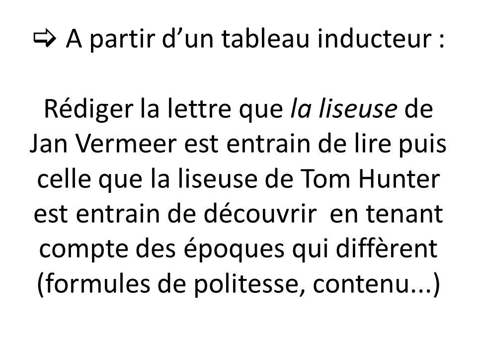 A partir dun tableau inducteur : Rédiger la lettre que la liseuse de Jan Vermeer est entrain de lire puis celle que la liseuse de Tom Hunter est entrain de découvrir en tenant compte des époques qui diffèrent (formules de politesse, contenu...)