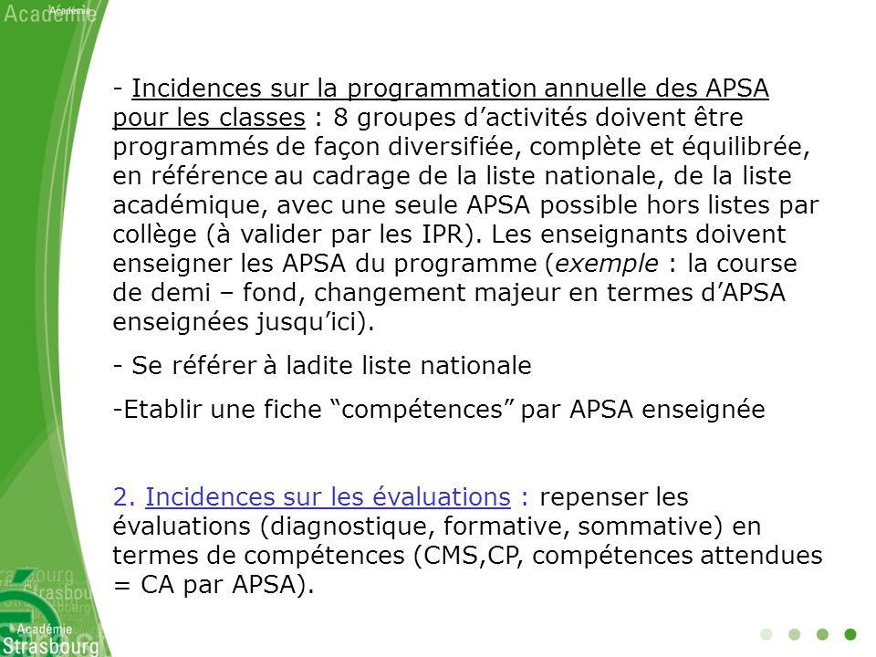 - Incidences sur la programmation annuelle des APSA pour les classes : 8 groupes dactivités doivent être programmés de façon diversifiée, complète et