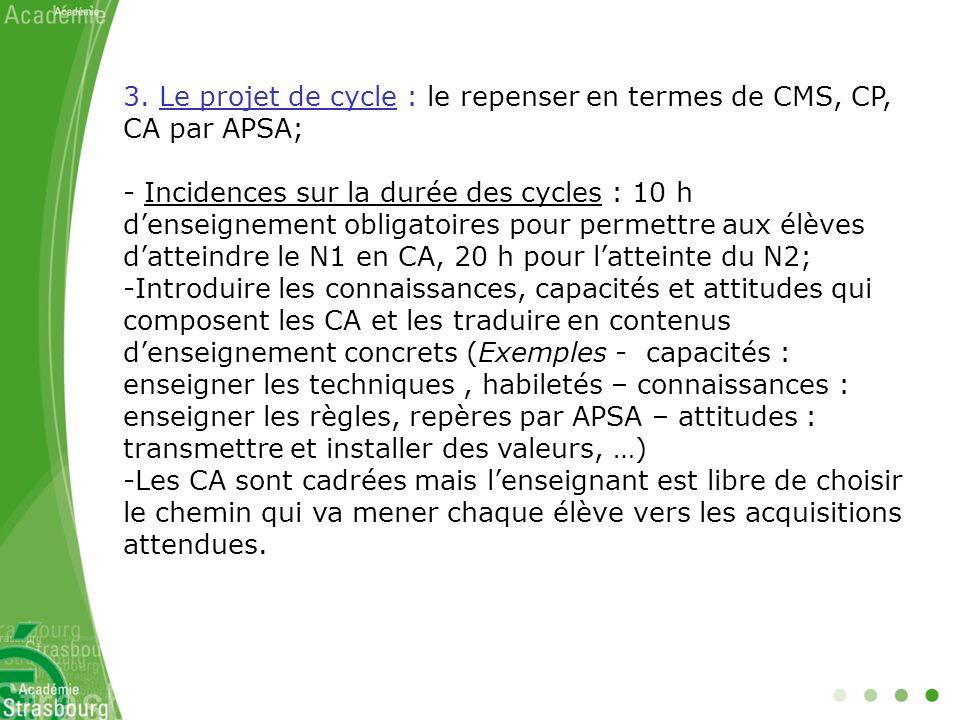 3. Le projet de cycle : le repenser en termes de CMS, CP, CA par APSA; - Incidences sur la durée des cycles : 10 h denseignement obligatoires pour per