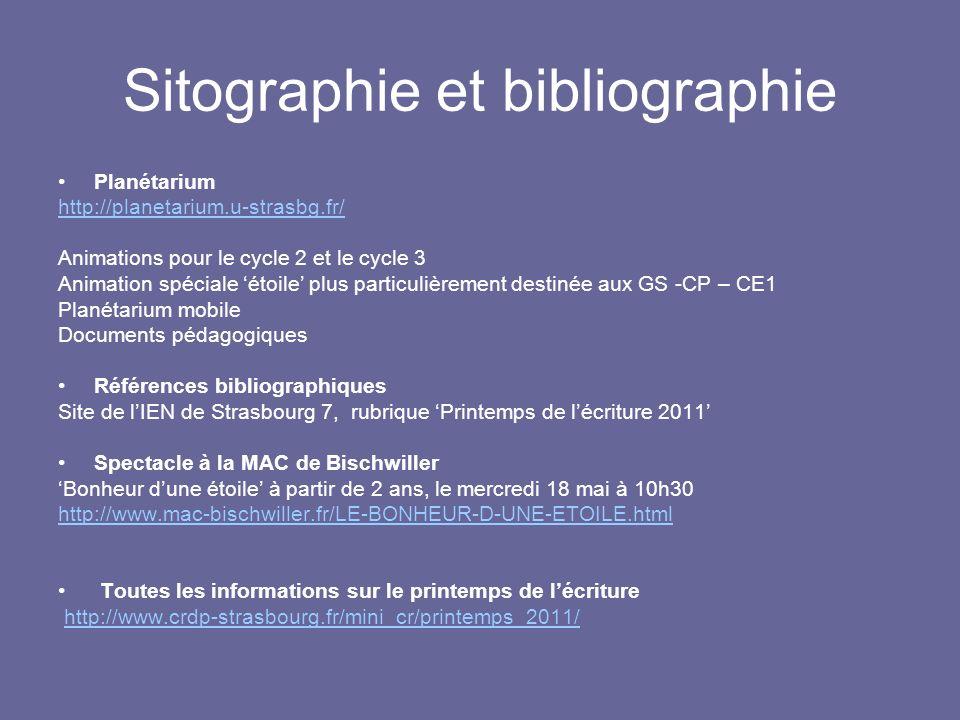 Sitographie et bibliographie Planétarium http://planetarium.u-strasbg.fr/ Animations pour le cycle 2 et le cycle 3 Animation spéciale étoile plus part