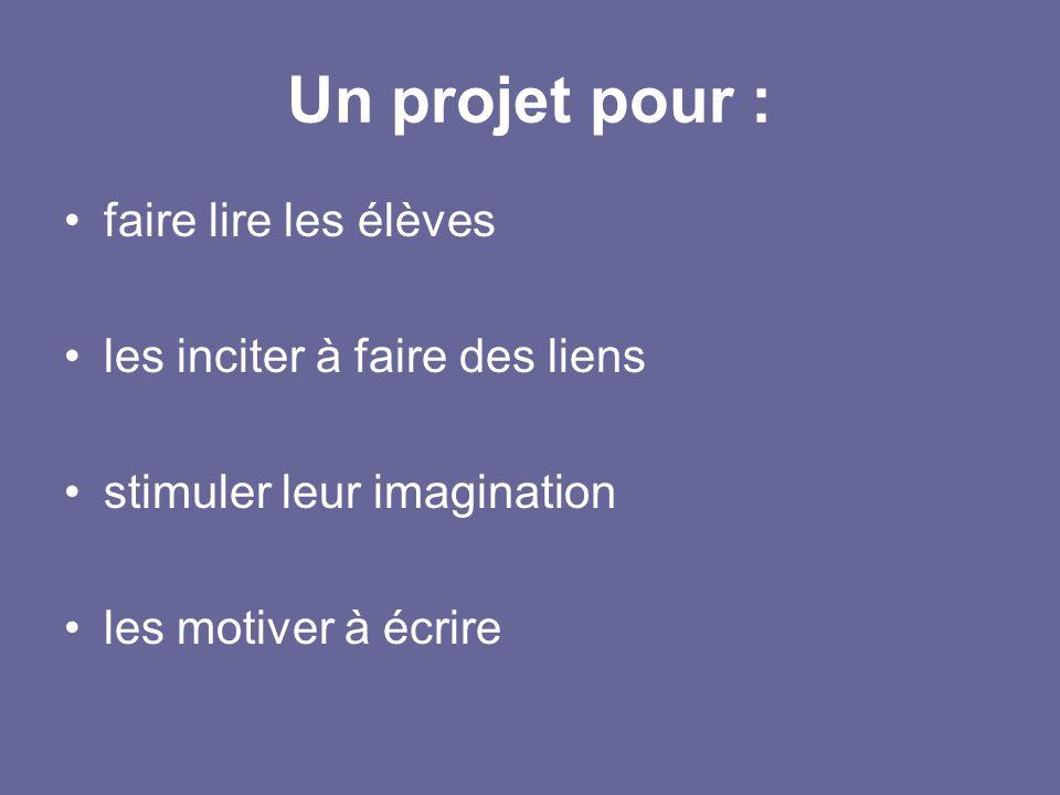 Un projet pour : faire lire les élèves les inciter à faire des liens stimuler leur imagination les motiver à écrire