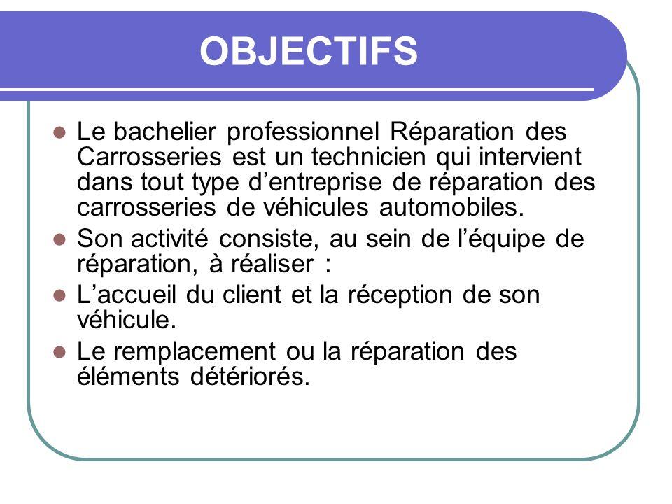 OBJECTIFS Le bachelier professionnel Réparation des Carrosseries est un technicien qui intervient dans tout type dentreprise de réparation des carross