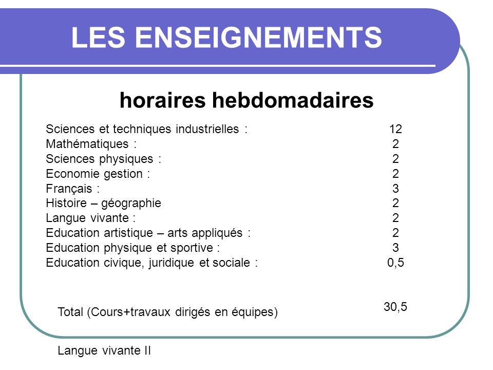 LES ENSEIGNEMENTS horaires hebdomadaires Sciences et techniques industrielles : Mathématiques : Sciences physiques : Economie gestion : Français : His
