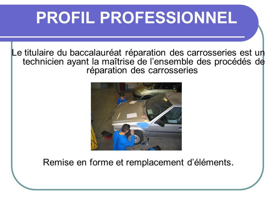 PROFIL PROFESSIONNEL Le titulaire du baccalauréat réparation des carrosseries est un technicien ayant la maîtrise de lensemble des procédés de réparat