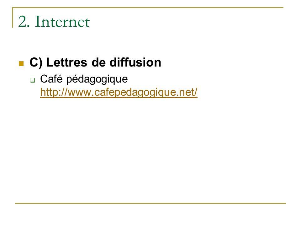 2. Internet C) Lettres de diffusion Café pédagogique http://www.cafepedagogique.net/ http://www.cafepedagogique.net/