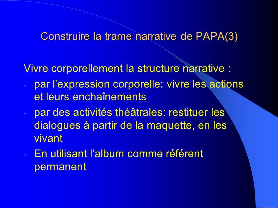 Construire la trame narrative de PAPA(3) Vivre corporellement la structure narrative : - par lexpression corporelle: vivre les actions et leurs enchaînements - par des activités théâtrales: restituer les dialogues à partir de la maquette, en les vivant - En utilisant lalbum comme référent permanent