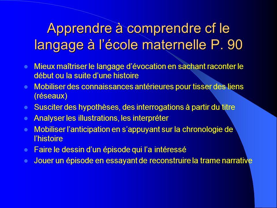 Apprendre à comprendre cf le langage à lécole maternelle P.