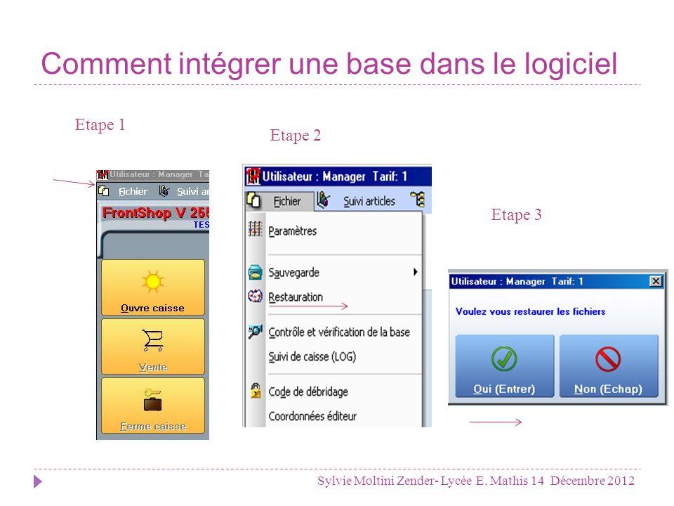 Comment restaurer une base .Sylvie Moltini Zender- Lycée E.