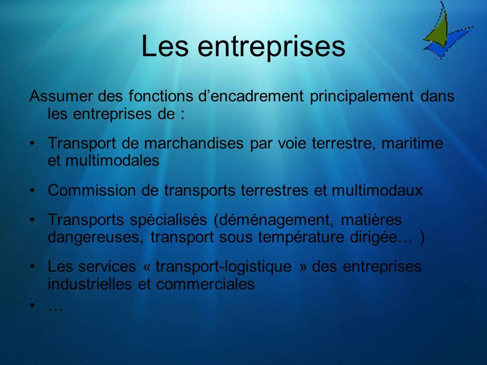 Les entreprises Assumer des fonctions dencadrement principalement dans les entreprises de : Transport de marchandises par voie terrestre, maritime et