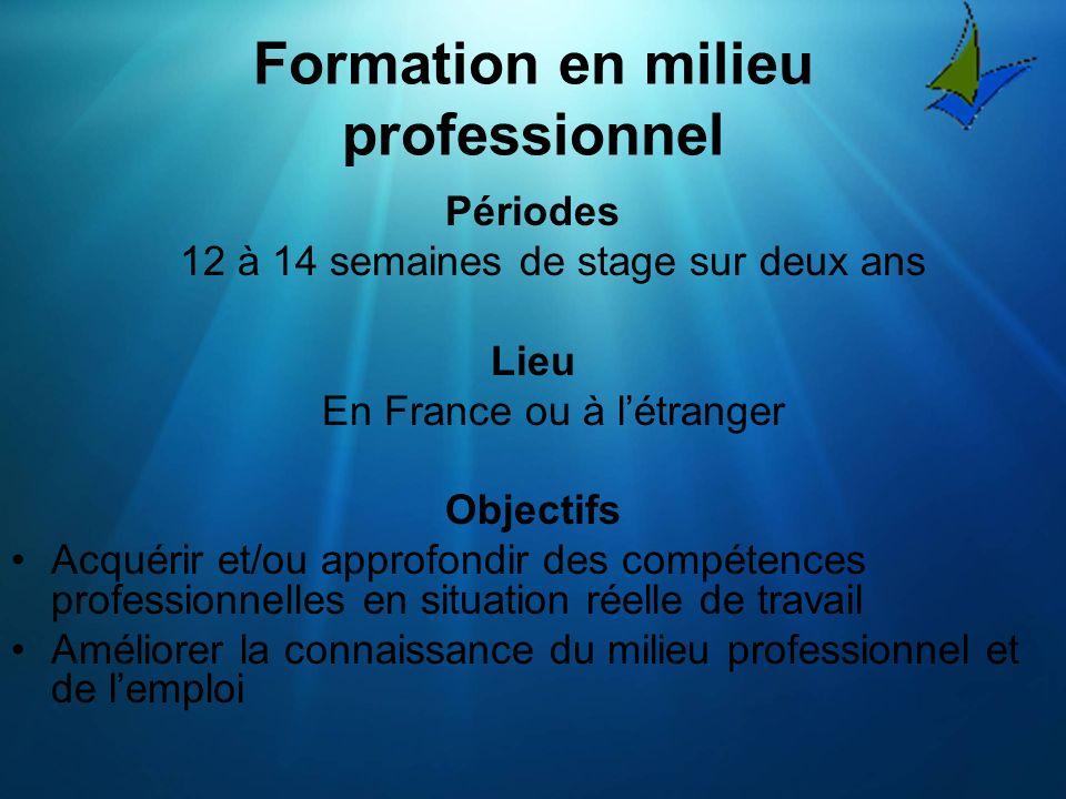Formation en milieu professionnel Périodes 12 à 14 semaines de stage sur deux ans Lieu En France ou à létranger Objectifs Acquérir et/ou approfondir des compétences professionnelles en situation réelle de travail Améliorer la connaissance du milieu professionnel et de lemploi