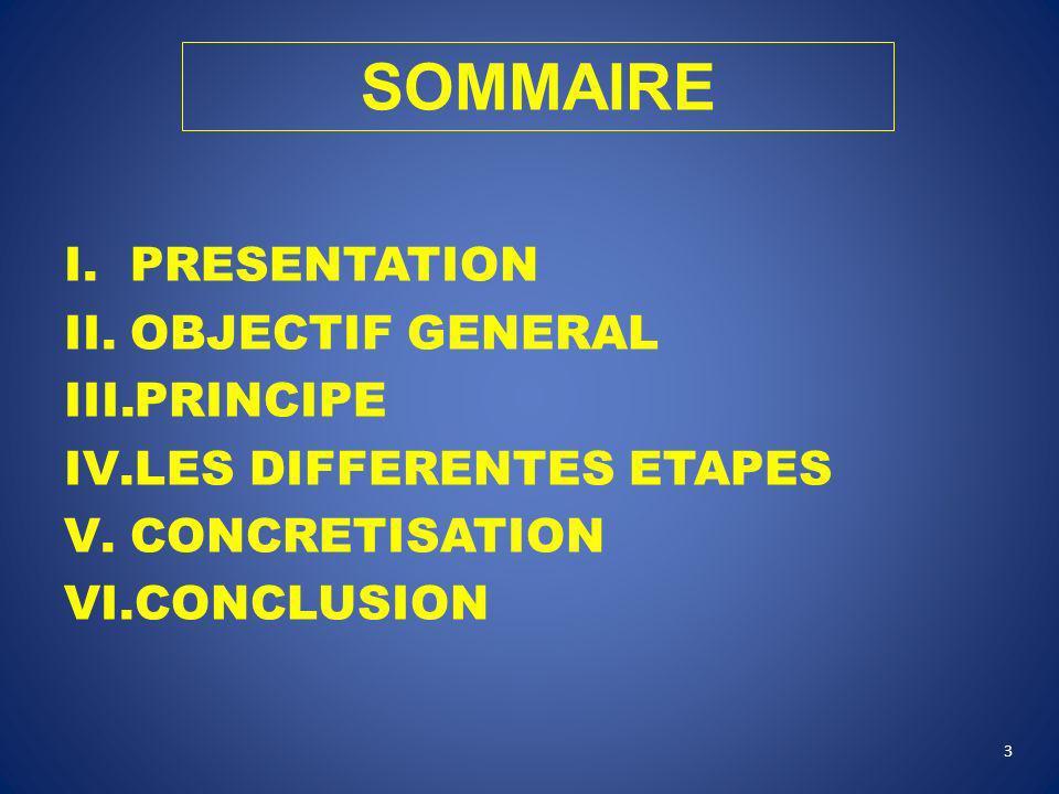 I.PRESENTATION II.OBJECTIF GENERAL III.PRINCIPE IV.LES DIFFERENTES ETAPES V.CONCRETISATION VI.CONCLUSION 3 SOMMAIRE