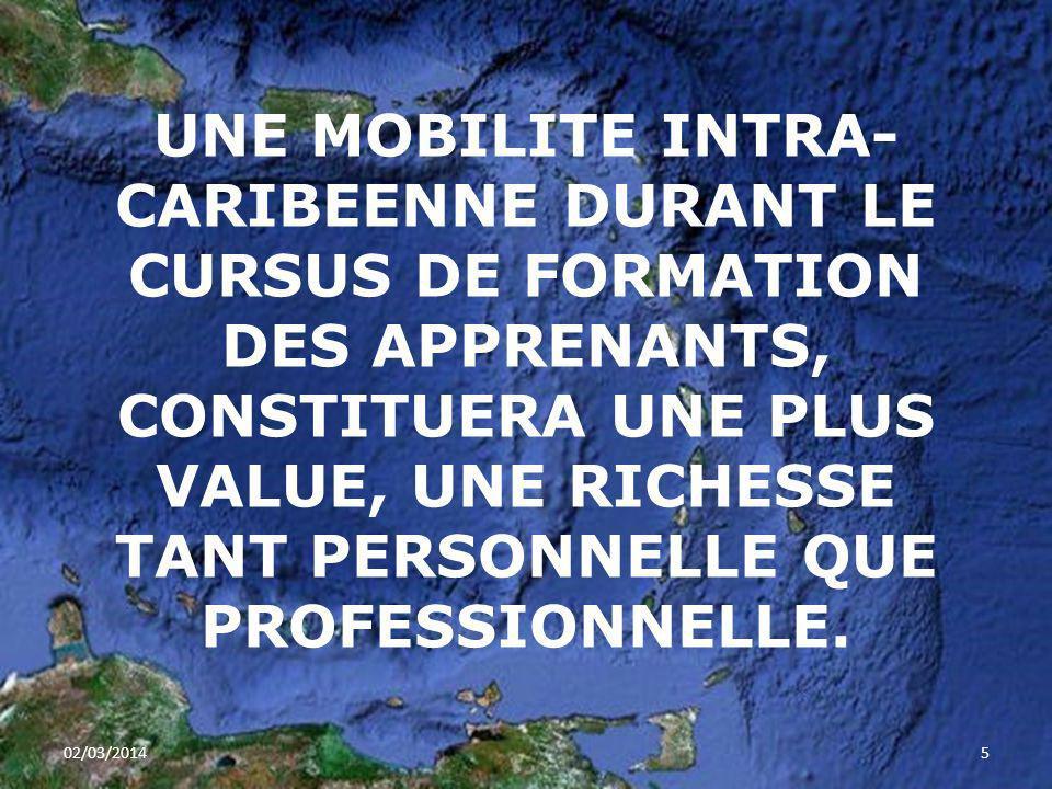 UNE MOBILITE INTRA- CARIBEENNE DURANT LE CURSUS DE FORMATION DES APPRENANTS, CONSTITUERA UNE PLUS VALUE, UNE RICHESSE TANT PERSONNELLE QUE PROFESSIONN