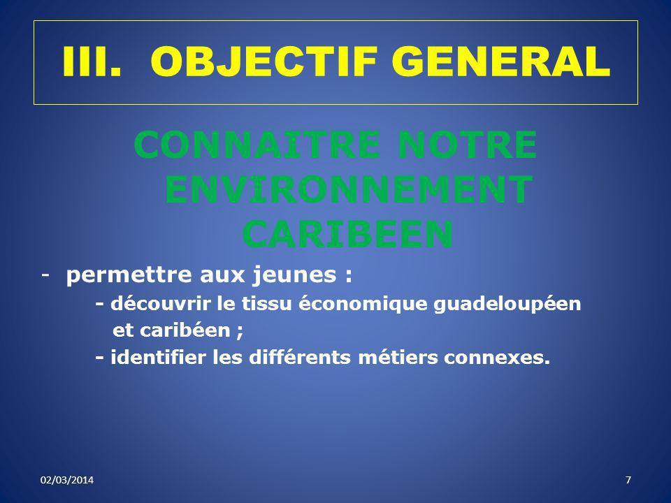 III. OBJECTIF GENERAL CONNAITRE NOTRE ENVIRONNEMENT CARIBEEN -permettre aux jeunes : - découvrir le tissu économique guadeloupéen et caribéen ; - iden