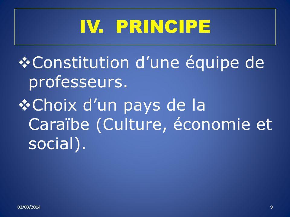 IV. PRINCIPE Constitution dune équipe de professeurs. Choix dun pays de la Caraïbe (Culture, économie et social). 02/03/20149