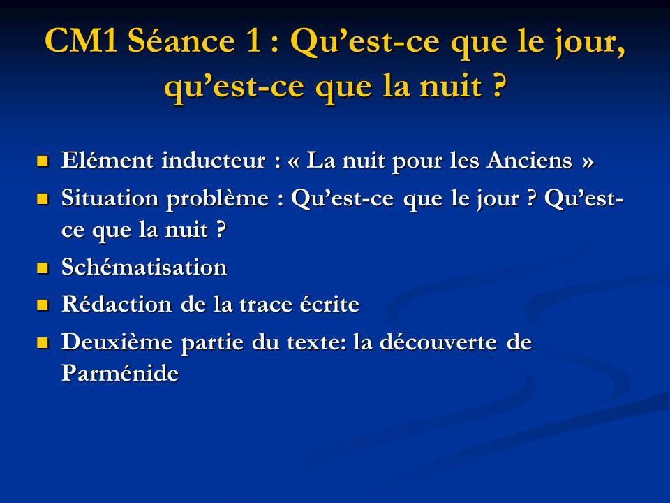 CM1 Séance 1 : Quest-ce que le jour, quest-ce que la nuit ? Elément inducteur : « La nuit pour les Anciens » Elément inducteur : « La nuit pour les An
