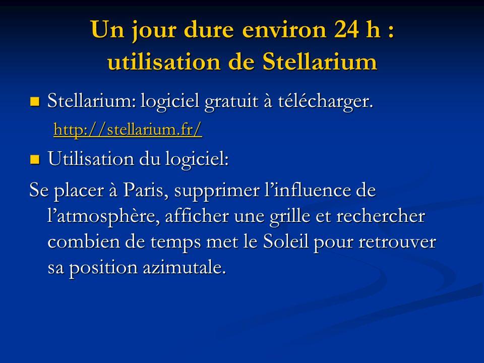 Un jour dure environ 24 h : utilisation de Stellarium Stellarium: logiciel gratuit à télécharger. Stellarium: logiciel gratuit à télécharger. http://s
