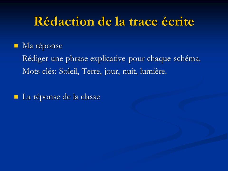 Rédaction de la trace écrite Ma réponse Ma réponse Rédiger une phrase explicative pour chaque schéma. Mots clés: Soleil, Terre, jour, nuit, lumière. L