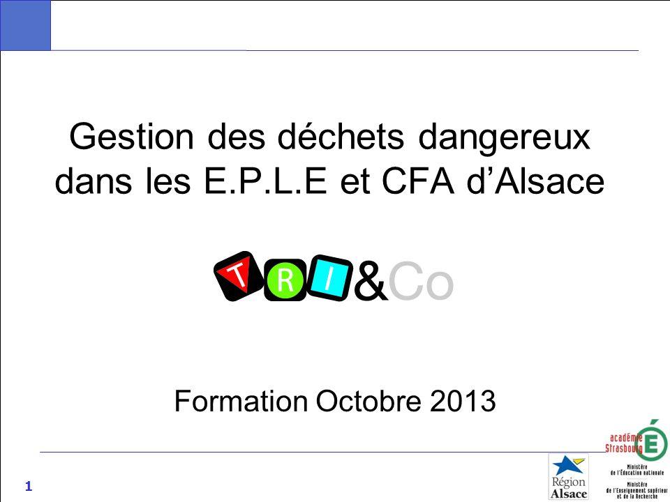1 Gestion des déchets dangereux dans les E.P.L.E et CFA dAlsace Formation Octobre 2013