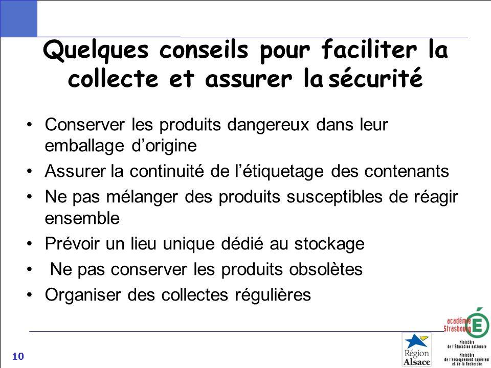 10 Quelques conseils pour faciliter la collecte et assurer la sécurité Conserver les produits dangereux dans leur emballage dorigine Assurer la contin