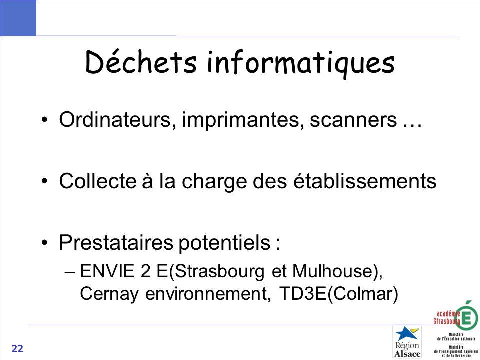 22 Déchets informatiques Ordinateurs, imprimantes, scanners … Collecte à la charge des établissements Prestataires potentiels : –ENVIE 2 E(Strasbourg