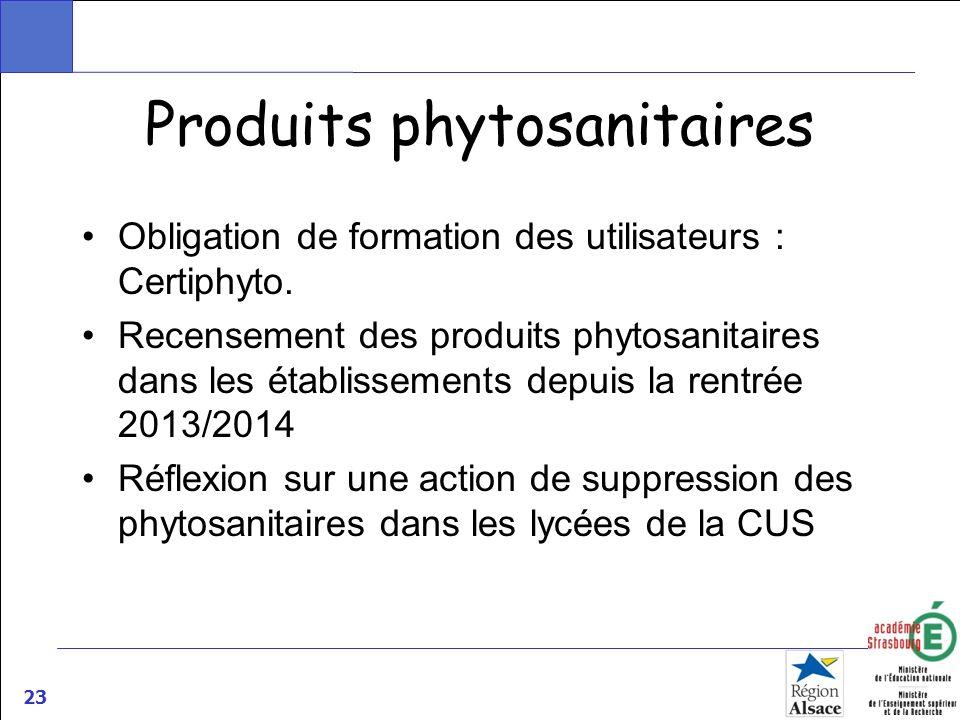 23 Produits phytosanitaires Obligation de formation des utilisateurs : Certiphyto. Recensement des produits phytosanitaires dans les établissements de