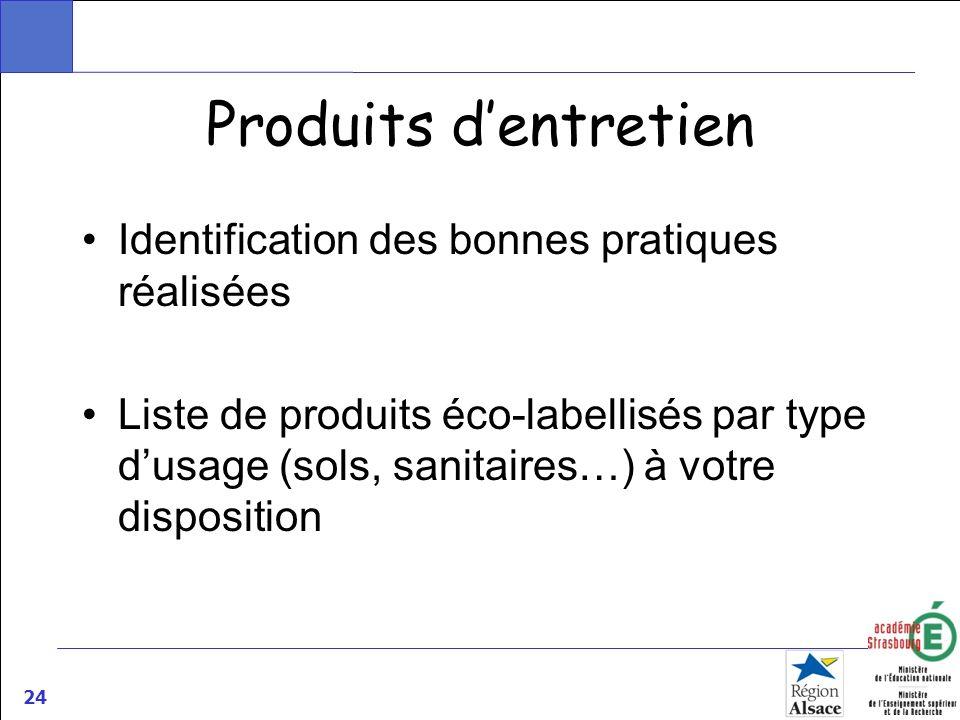 24 Produits dentretien Identification des bonnes pratiques réalisées Liste de produits éco-labellisés par type dusage (sols, sanitaires…) à votre disp