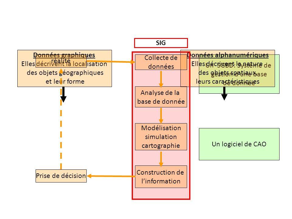 Un SGBD: Système de gestion dune base de donnée + identifiant entité Champs ou valeur attributaire Données graphiques Elles décrivent la localisation