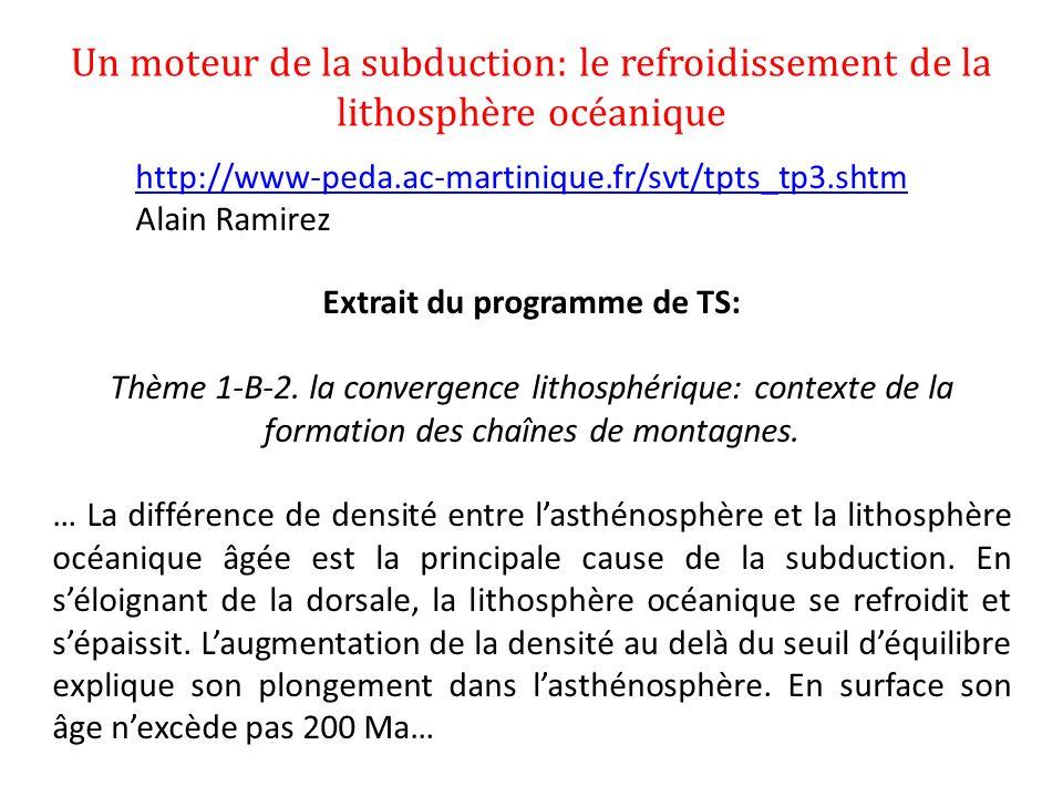 Un moteur de la subduction: le refroidissement de la lithosphère océanique http://www-peda.ac-martinique.fr/svt/tpts_tp3.shtm Alain Ramirez Extrait du