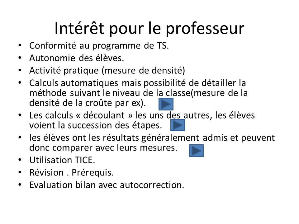 Intérêt pour le professeur Conformité au programme de TS. Autonomie des élèves. Activité pratique (mesure de densité) Calculs automatiques mais possib